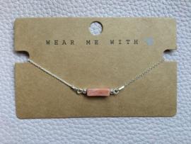 Armband natuursteen zalm/roze