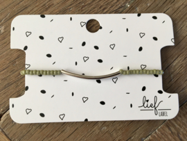 Lief Label armband - green tube silver