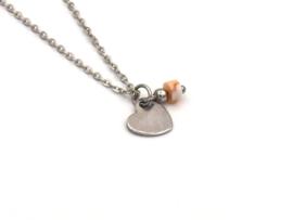 Winkel van Indah ketting - hart jaspis perzik zilver
