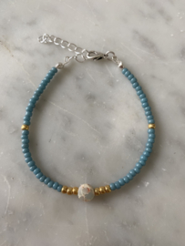 Kralenarmband facet turquoise - blauw