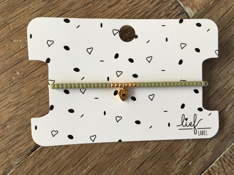 Lief Label armband- green hanging heart gold