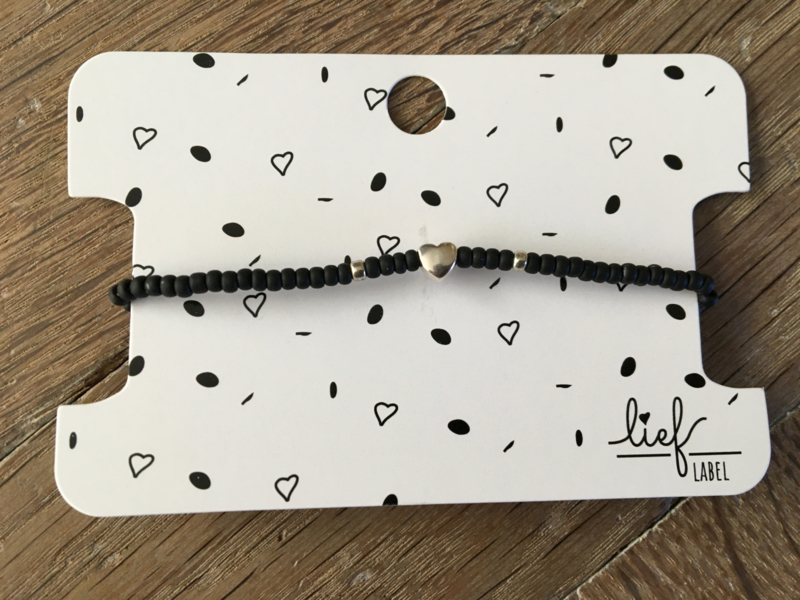 Lief Label armband - black mat heart silver