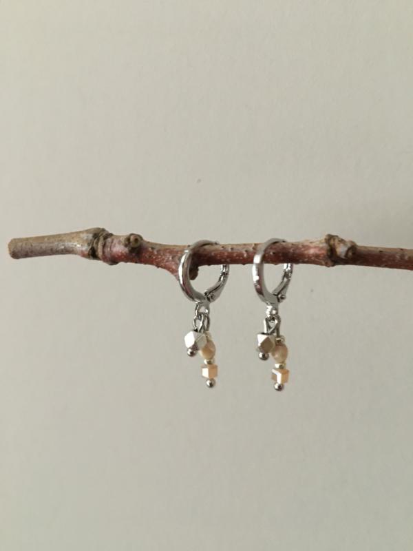 MOOI! Jewels oorbellen - facet beige