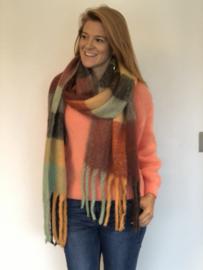 Sjaal, ruit, oranje/bruin tinten
