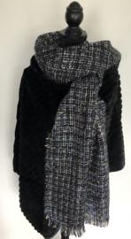 Sjaal, multicolor, zwart lurex
