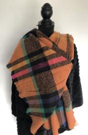 Sjaal, ruit, oranje/zwart multicolor