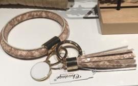 Sleutelhanger, ring, roze/beige