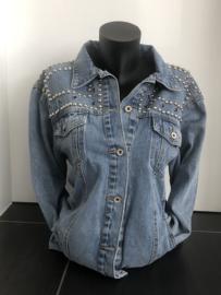 Jeansvest met spikes, oversized