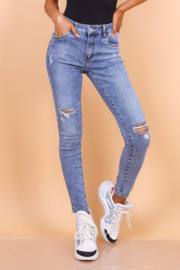 Hoge taille, ripped jeans