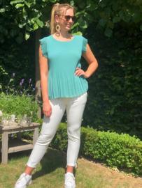 Mouwloze bloes in plissé, groen