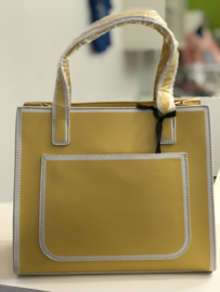 Handtas retro, groot model, geel/wit
