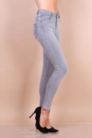 Hoge taille, jeans, grijs melée