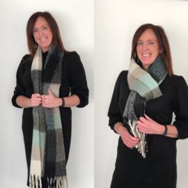 Sjaal, extra lang, ruit, groene tinten