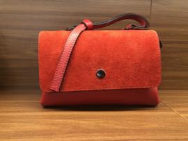 Handtas, leder/daim, rood, klasse model!