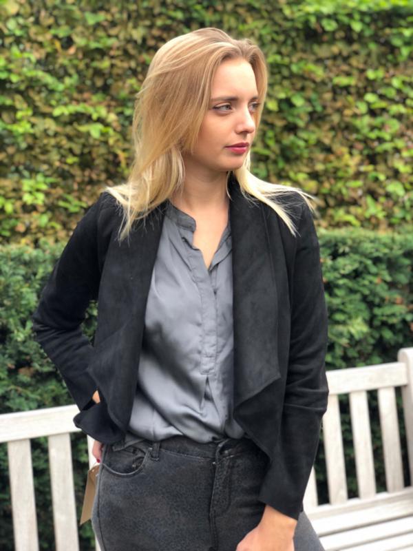 Vestje in suede,  zwart (meerdere kleuren)