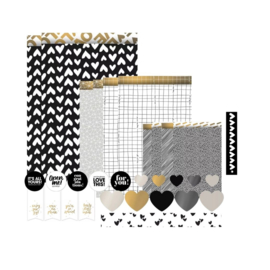 Black White and a touche of gold cadeauzakjes set
