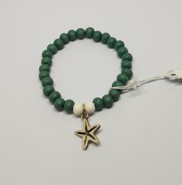 Armband groen / wit met zeester