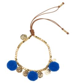 Pompom armband 14 K Gold Blue