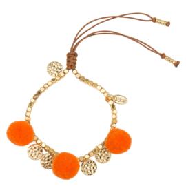 Pompom armband 14K Gold Orange
