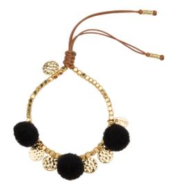 Pompom armband 14K Gold Black