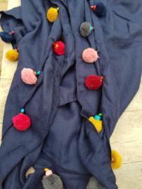 Sjaal donkerblauw pompom