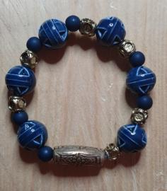 Armband blauw /koper