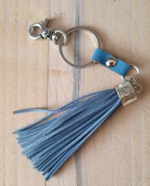 Suède sleutelhanger blauw