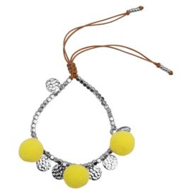 Pompom armband 14K White Gold Yellow