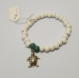 Armband wit / groen met schildpad