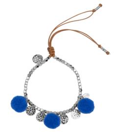 Pompom armband 14K White Gold Blue