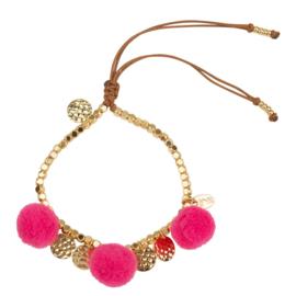 Pompom armband 14K Gold Pink
