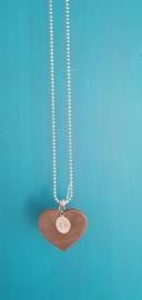 Ball Chain ketting met leren hart