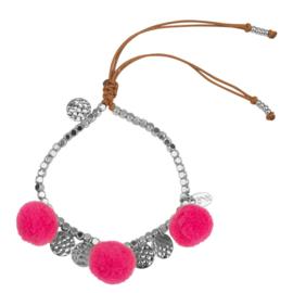 Pompom armband 14K White Gold Pink