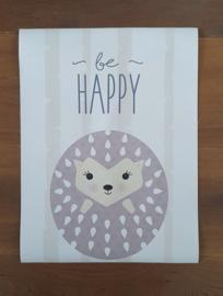 Poster Hedgehog Be Happy