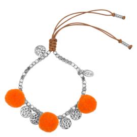 Pompom armband 14K White Gold Orange