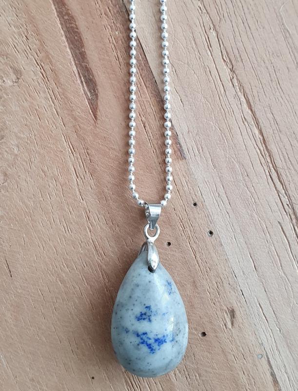 Ketting met natuursteen hanger grey / blue