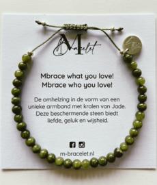 MBracelet groen 4mm kraal zilver