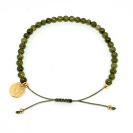 MBracelet groen 4mm kraal goud