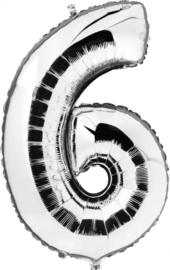 Folie Ballonnen - 6 Zilver