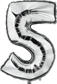 Folie Ballonnen - 5 Zilver