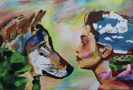 Schilderij vrouw en wolf