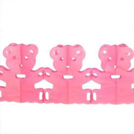 Papieren Vlaggenlijn - Geboorte Beertjes Roze