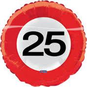 Folieballon - Verkeersbord 25