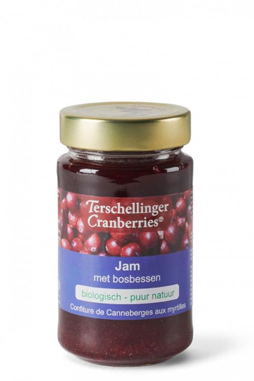 Biologische cranberry jam met bosbessen