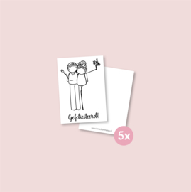 Set van 5 minikaartjes - Trouwen (5 setjes)