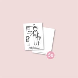 Set van 5 minikaartjes - Dankjewel meester (5 setjes)
