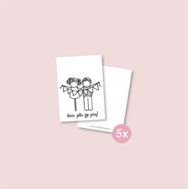 Set van 5 minikaartjes - Tweeling jarig meisje/jongen (5 setjes)