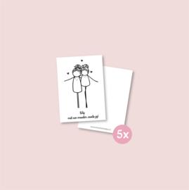 Set van 5 minikaartjes - Moeder zoals jij (5 setjes)