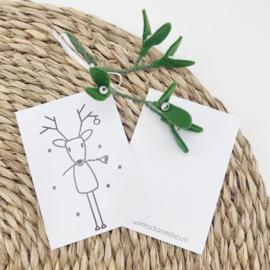 Minikaartje - Rendier (per 25 stuks)