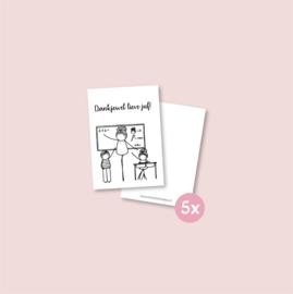 Set van 5 minikaartjes - Dankjewel juf (5 setjes)